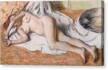 After The Bath Or Reclining Nude Canvas Print by Edgar Degas