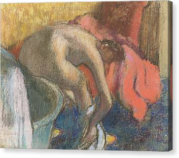 After The Bath, Woman Drying Her Leg   The Red Robe Canvas Print by Edgar Degas
