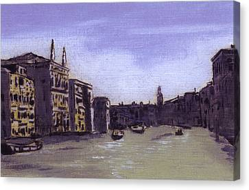 After The Grand Canal From Campo San Vio Near The Rialto Bridge Canvas Print by Hyper - Canaletto