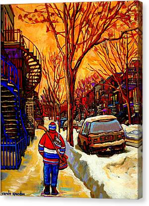 After The Hockey Game A Winter Walk At Sundown Montreal City Scene Painting  By Carole Spandau Canvas Print by Carole Spandau
