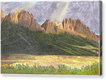Canvas Print featuring the painting After The Monsoon Organ Mountains by Jack Pumphrey
