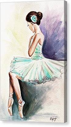 Dance Ballet Roses Canvas Print - After The Performance by Elizabeth Robinette Tyndall