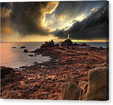 after the storm at La Corbiere Canvas Print by Meirion Matthias