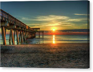 After The Storm Tybee Island Pier Sunrise Art Canvas Print by Reid Callaway