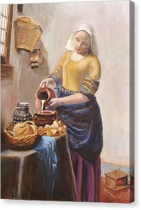 After Vermeer's Milkmaid Canvas Print by Edward Merrell