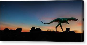 Afterglow Dinosaur Canvas Print by Gary Warnimont