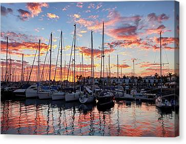 Canvas Print - Afterglow In Puerto De Mogan by Marc Huebner