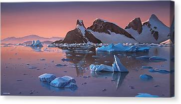 Afterglow Lemarie Channel Antarctica Canvas Print by Cliff Wassmann