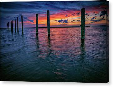 Afterglow On Great South Bay Canvas Print by Rick Berk