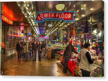 Afternoon At The Pike Street Market Seattle Washington Canvas Print by Lawrence Christopher