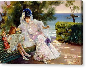 Afternoon By The Sea, Biarritz, 1906 Canvas Print by Jose Villegas Cordero