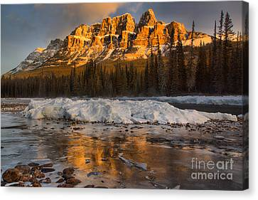 Canvas Print - Afternoon Castle Reflections In The Icy Bow River by Adam Jewell