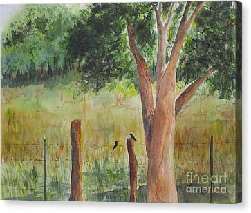 Canvas Print featuring the painting Afternoon Chat by Vicki  Housel