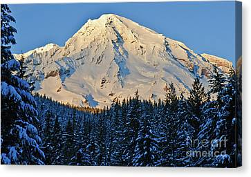 Mountain Reflection Lake Summit Mirror Canvas Print - Afternoon Delight by Jim Chamberlain