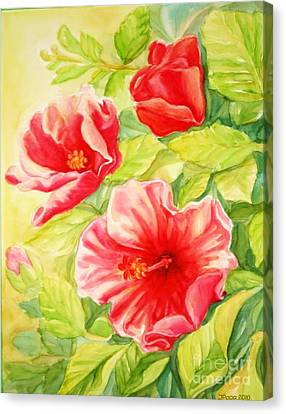 Canvas Print featuring the painting Afternoon Hibiscus by Inese Poga