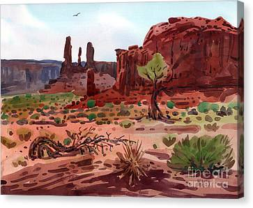 Afternoon In Monument Valley Canvas Print by Donald Maier
