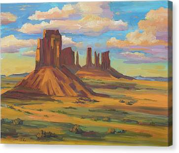 Canvas Print featuring the painting Afternoon Light Monument Valley by Diane McClary