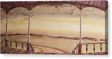 Canvas Print featuring the painting Afternoon On The Porch Of The Old Victorian by Scott Kirby