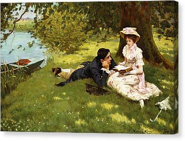 Afternoon Pastimes Canvas Print by Edward R King