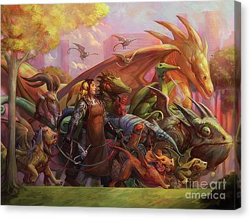 Fantasy Creatures Canvas Print - Afternoon Walk by Julie Dillon
