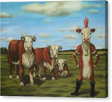 Canvas Print featuring the painting Against The Herd by Leah Saulnier The Painting Maniac