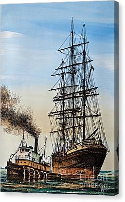 Tall Ship Canvas Print - Age Of Steam And Sail by James Williamson