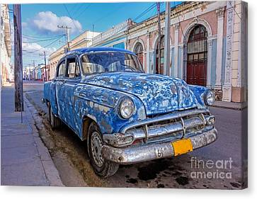 Aged And Run-down Cuban Auto In The Street Of Cienfuegos, Cuba  Canvas Print