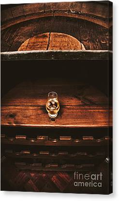 Aged Glass Of Rum On Cellar Barrel Canvas Print by Jorgo Photography - Wall Art Gallery
