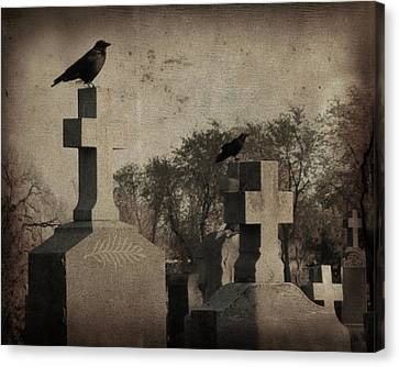 Aged Graveyard Scene Canvas Print by Gothicrow Images