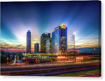 Canvas Print featuring the photograph Aglow Atlanta Midtown Atlantic Station Sunset Art by Reid Callaway