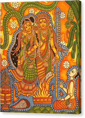 Agnisakshi Kerala Brahmin Marriage Canvas Print by Anu Edasseri