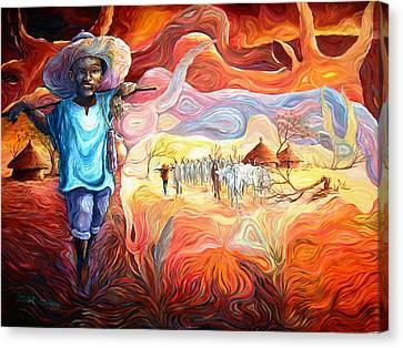 Agoi - The Sheperd Boy Canvas Print by Bankole Abe