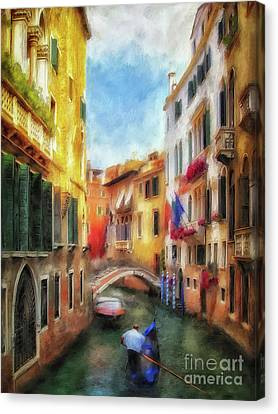 Canvas Print featuring the digital art Ahh Venezia Painterly by Lois Bryan