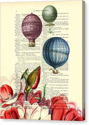Hot Air Balloons Above Flower Field Canvas Print by Madame Memento