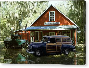 Air Brushed Woody At Country Store Canvas Print by John Breen