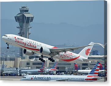 Canvas Print featuring the photograph Air China Boeing 777-39ler B-2035 Smiling China Los Angeles International Airport May 3 2016 by Brian Lockett
