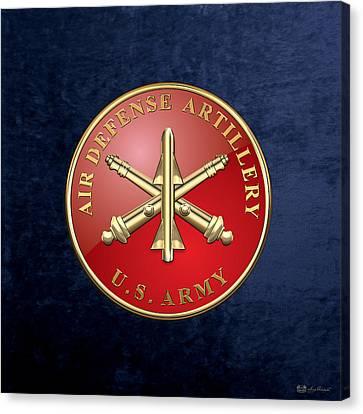 Air Defense Artillery - Ada Branch Insignia Over Blue Velvet Canvas Print by Serge Averbukh
