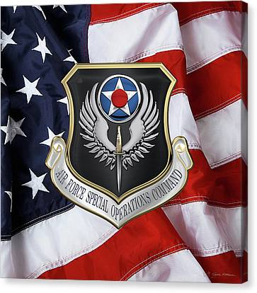 Air Force Special Operations Command -  A F S O C  Shield Over American Flag Canvas Print by Serge Averbukh