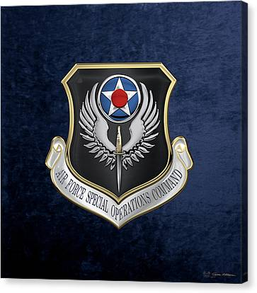 Air Force Special Operations Command -  A F S O C  Shield Over Blue Velvet Canvas Print by Serge Averbukh