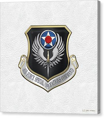 Air Force Special Operations Command -  A F S O C  Shield Over White Leather Canvas Print by Serge Averbukh