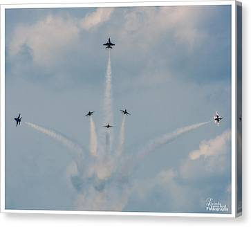 Canvas Print featuring the photograph Air Force Thunderbirds by Linda Constant