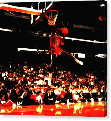 Patrick Ewing Canvas Print - Air Jordan 1988 Slam Dunk Contest 8c by Brian Reaves