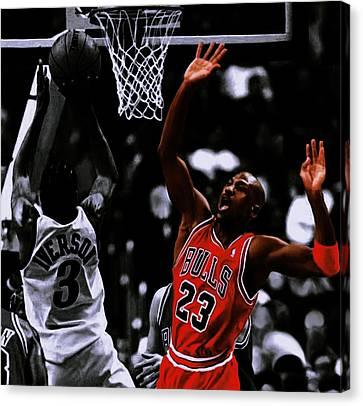 Mj Canvas Print - Air Jordan And Allen Iverson by Brian Reaves