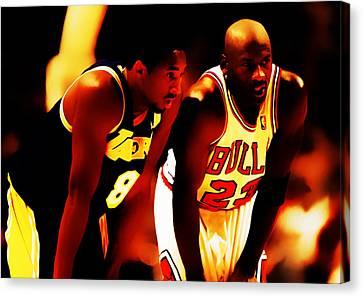 Jordan Canvas Print - Air Jordan And Kobe Bryant 03c by Brian Reaves