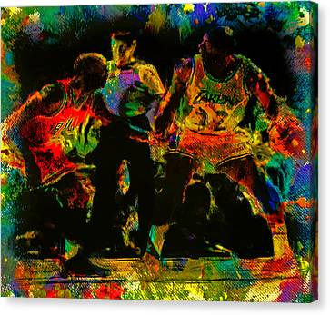 Larry Bird Canvas Print - Air Jordan And Magic In The Paint by Brian Reaves