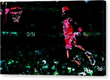 Air Jordan In Flight Thermal Canvas Print by Brian Reaves