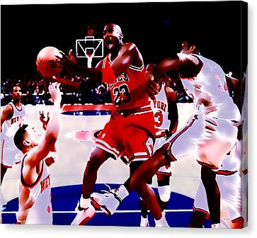 Air Jordan In Traffic Canvas Print by Brian Reaves