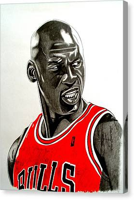 Air Jordan Canvas Print - Air Jordan Raging Bull Drawing by Keeyonardo