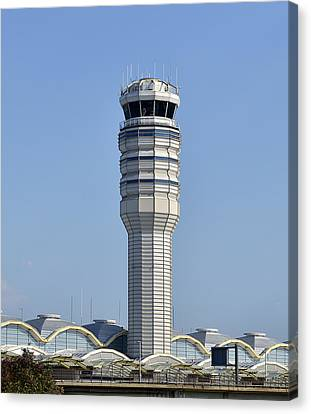 Air Traffic Control Tower At Reagan National Airport Canvas Print by Brendan Reals