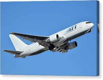 Air Transport International Boeing 767-232 N763cx Phoenix Sky Harbor January 19 2016  Canvas Print by Brian Lockett